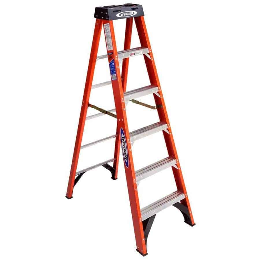 6-ft fiberglass step ladder with slip-resistant feature.