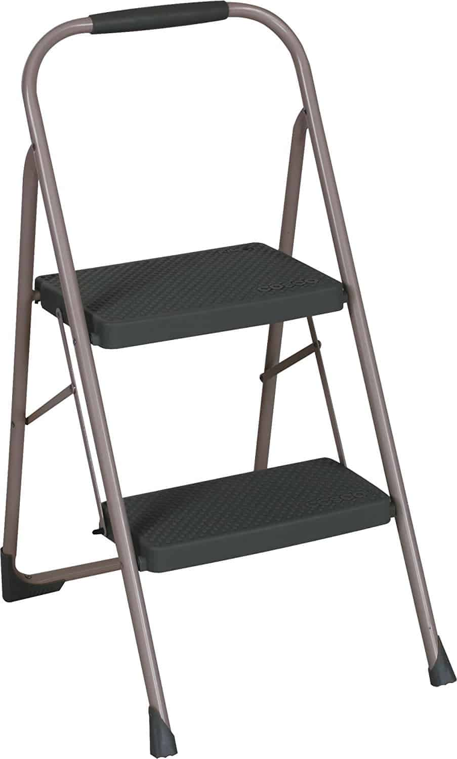 Two step big step folding step stool with rubber hand grip in gray finish.