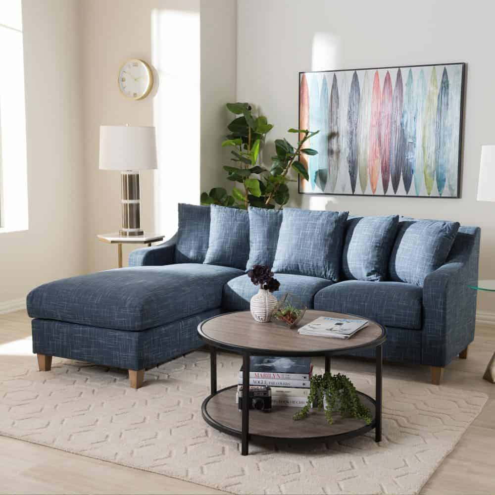 2 piece left facing sectional sofa with solid hardwood frame and blue fabric upholstery.