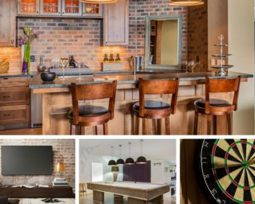 Collage of cools stuff guys want in a rec room or man cave
