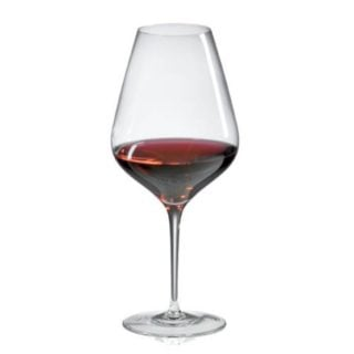 Cabernet red wine glass with a sleek interface a tall and slim stem.
