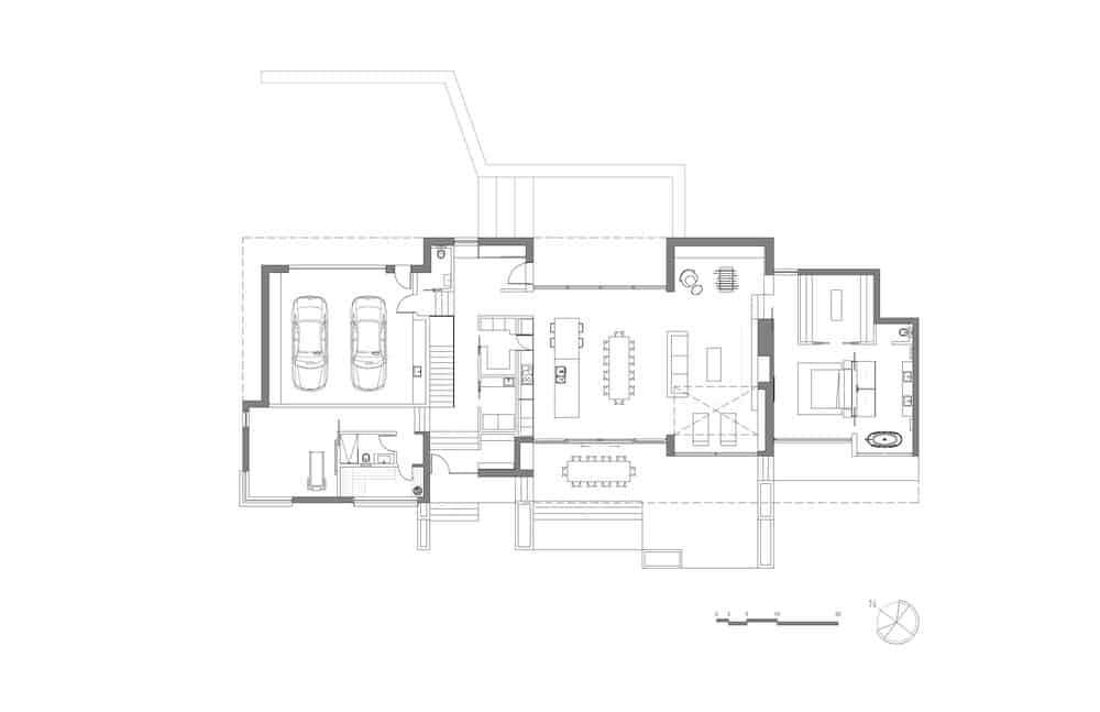 Blue print of the Slender House residential architecture. Photo Credit: MU Architecture