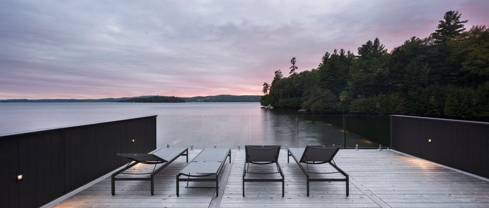 Seating lounge on the deck offers stunning landscape view. Photo Credit: Stephane Groleau