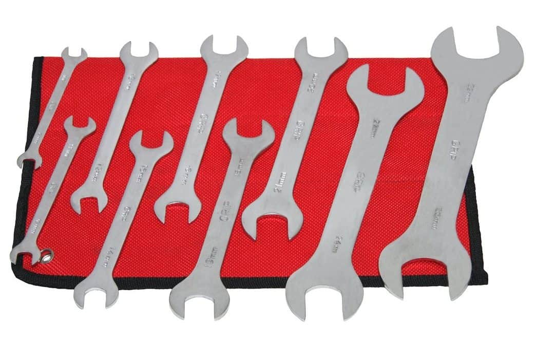 A 9-piece set of thin, plated steel wrenches.