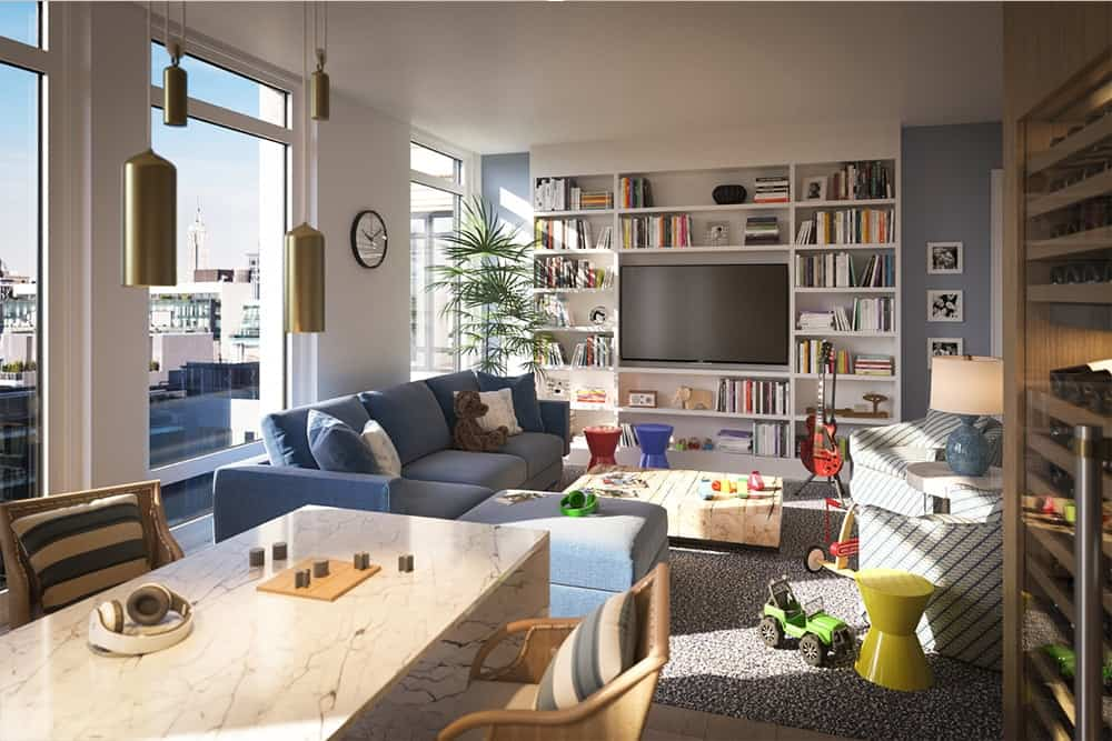 The living space offer entertainments like books, TV and guitar. The sofa set looks perfect with the room's style while glass windows provide stunning view of the city.