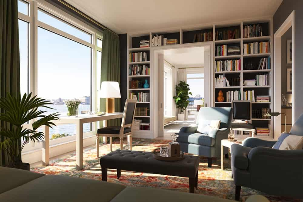 The home also features a study room with a large bookshelf. Huge carpet fits well with the sofa set.