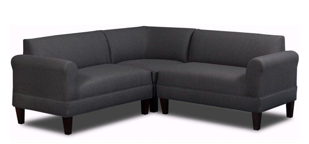 3 piece sectional sofa with high-density poly-foam cushions and solid wood frame.