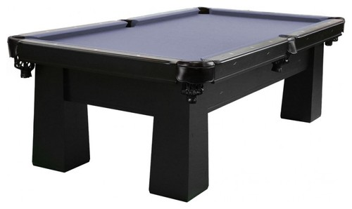 A transitional pool table with a blue and black finish.