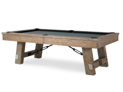 Wooden pool table in a transitional style.