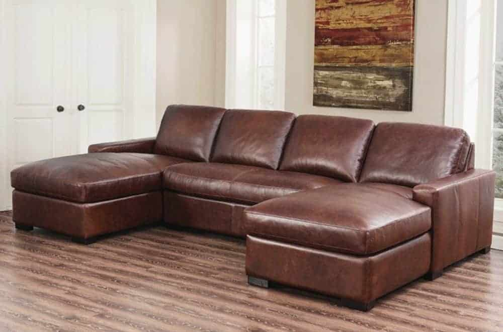 3 piece sectional sofa with kiln-dried hardwood frame and full grain leather upholstery.