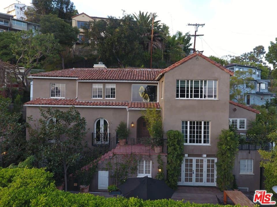 Aerial view of Usher's house showcasing the beauty of the Mediterranean style house.