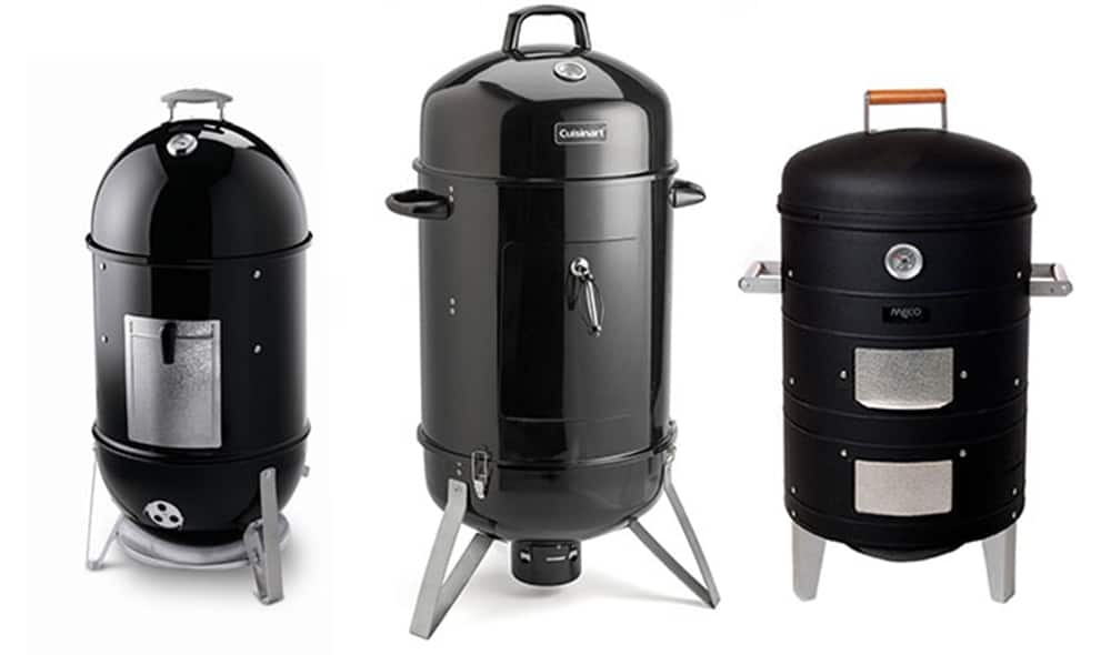 Vertical water smokers with glossy black finish.
