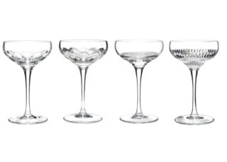 A set of vintage wine glasses made of lead crystal.