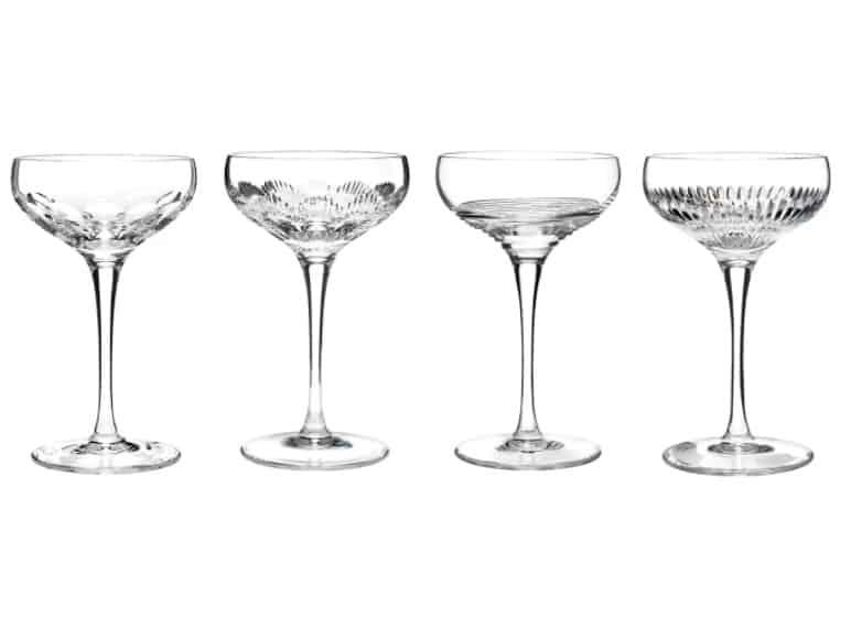 A set of vintage wine glasses made of lead crystal.