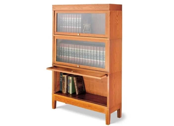 Wooden bookshelf with a warm brown tone.