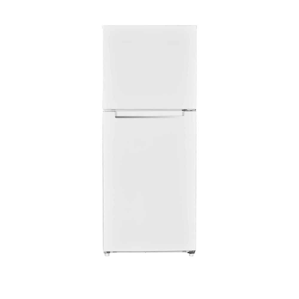 White, compact refrigerator with a top freezer.