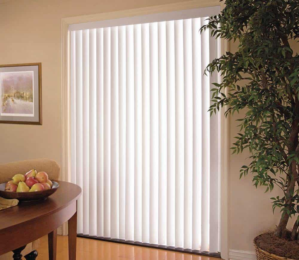 White, vertical blind with an elegant finish.