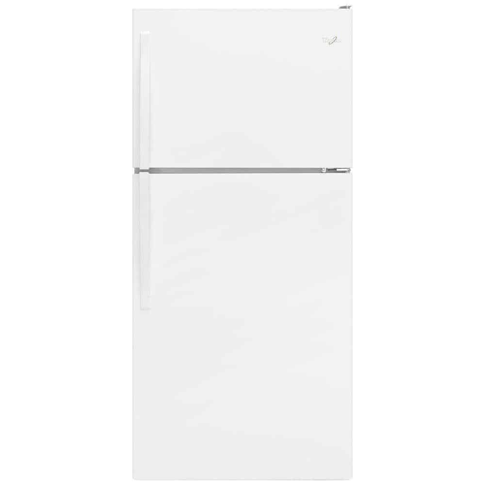 White refrigerator looking clean and decent.