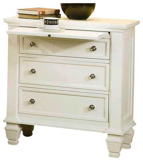 Traditional-style, white bedside table with three full extension drawers.
