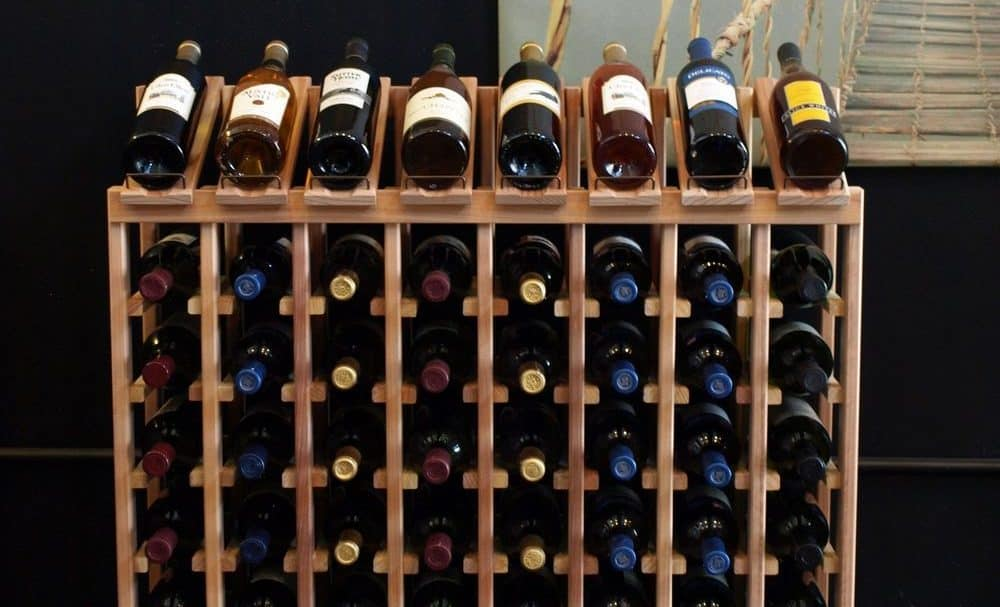 A display of wooden wine rack.