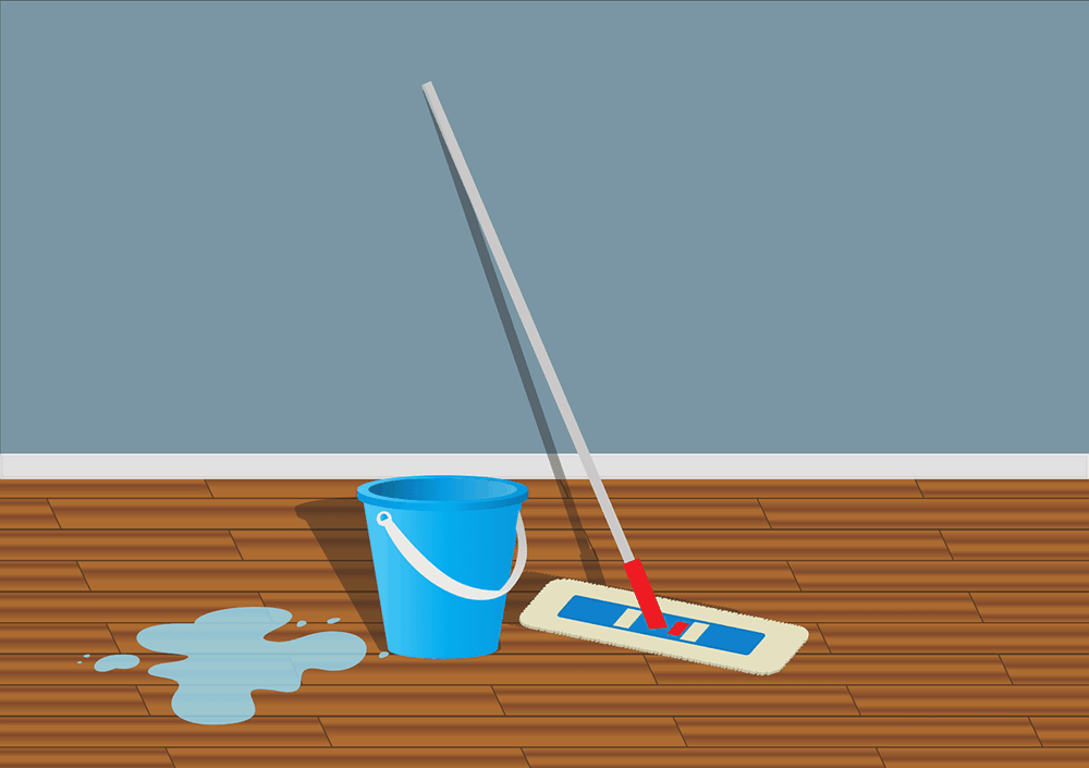 A mop and a bucket for cleaning floors.