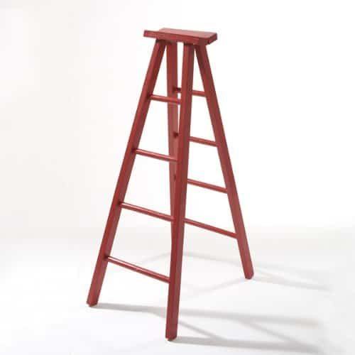 18 inch wooden red hinged ladder.