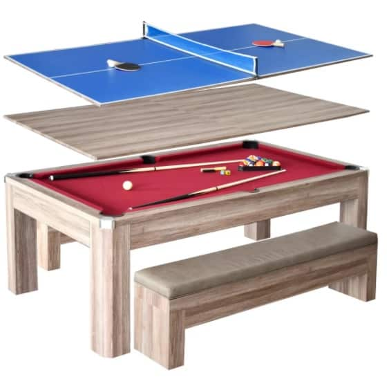 Wooden conversion pool table and table tennis set.