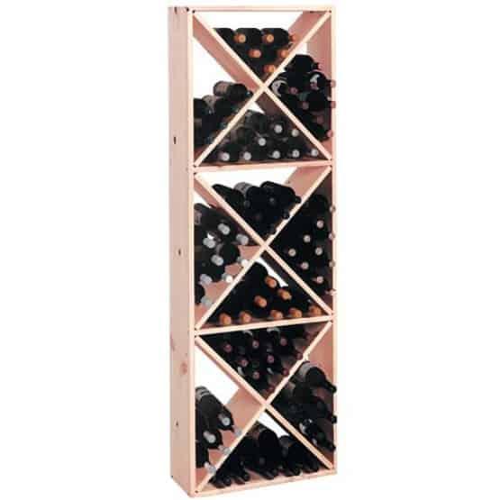 Wine rack made of pine wood.