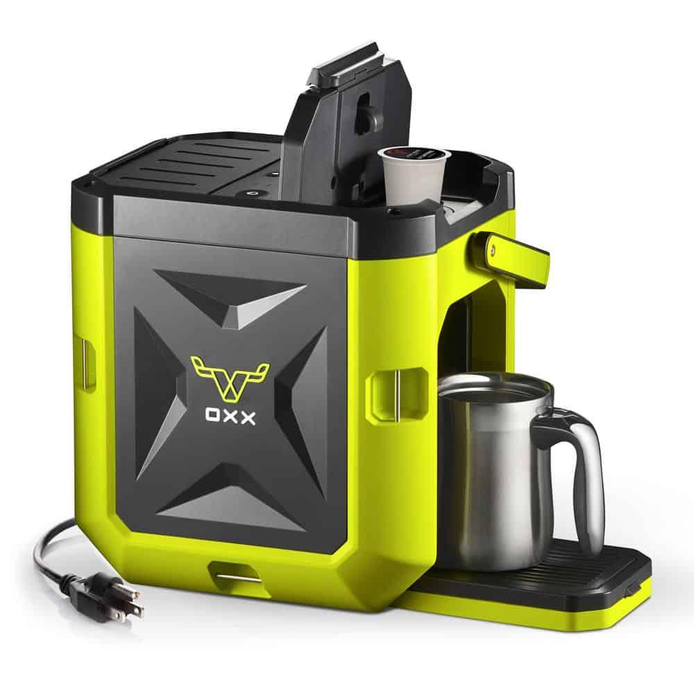 Heavy-duty Oxx coffee maker in yellow-green.