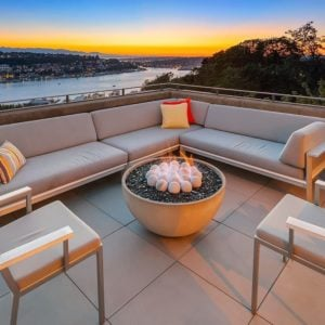 Incredible patio with a view, patio sectional sofa and chairs.