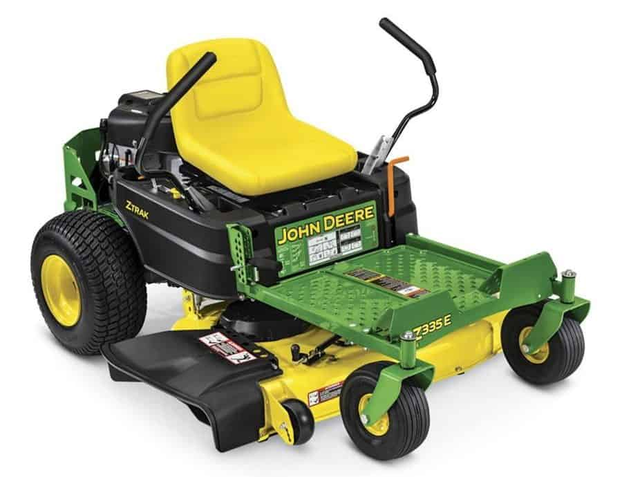 Dual hydrostatic 42-inch zero-turn lawn mower with mulching capability and adjustable seat.