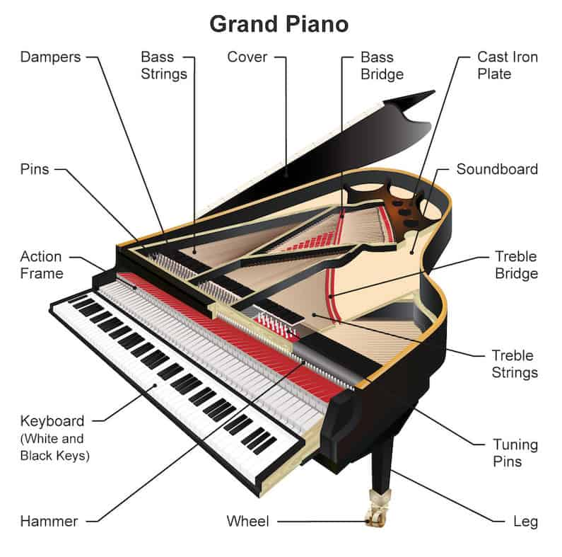 Parts of a Piano (Grand and Upright Piano Diagrams)