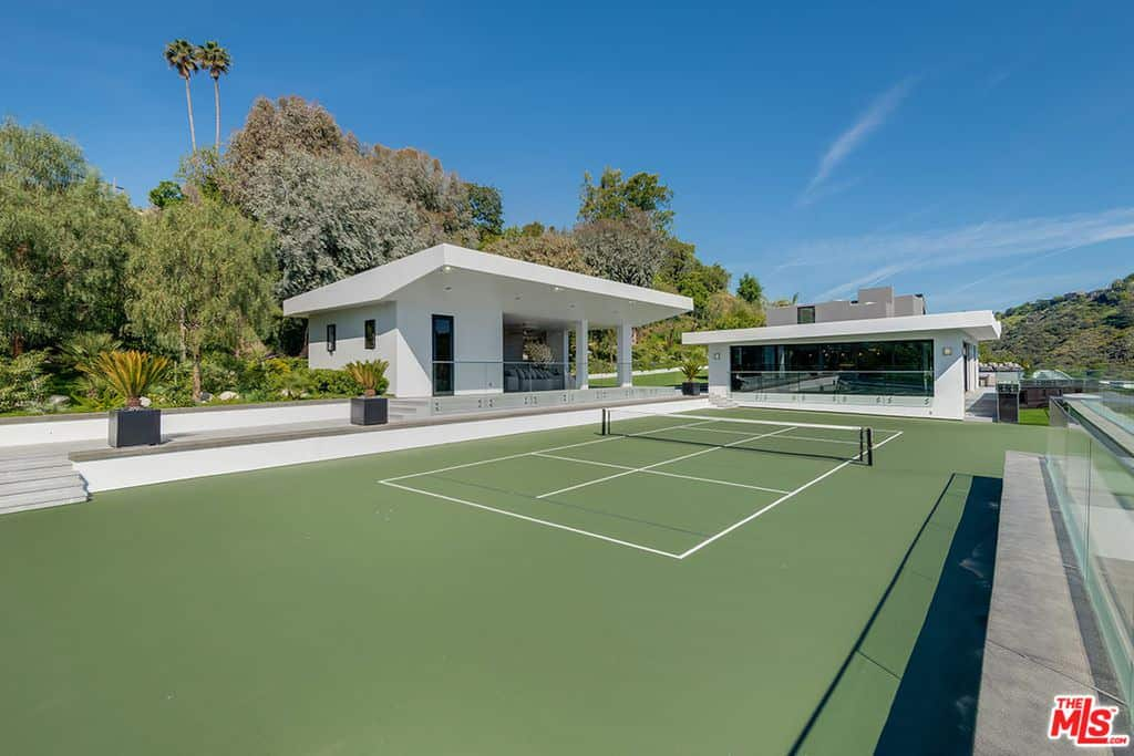 Tennis court in backyard
