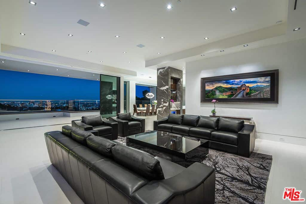 Formal living room with black furniture