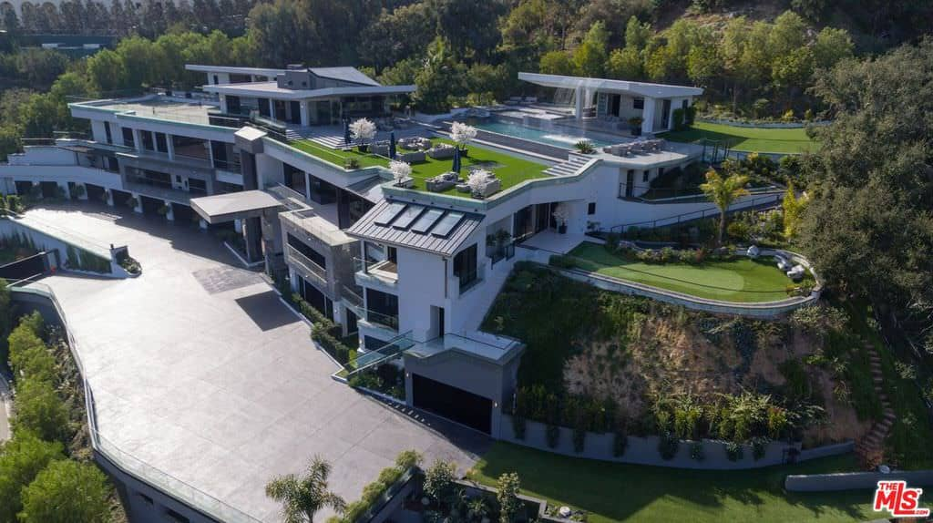 Aerial view of 31,000 sq. ft. mega mansion in Los Angeles