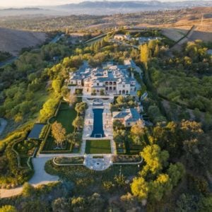 Aerial view of spectacular luxury home on hill top