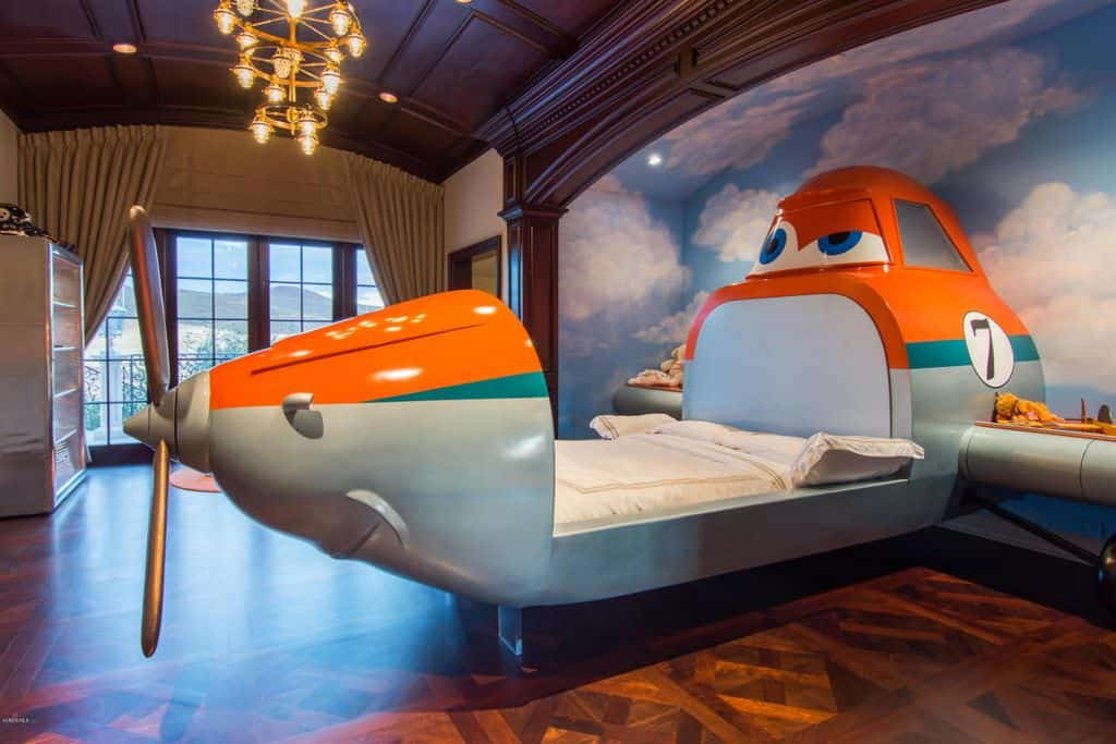 Kids bedroom with airplane bed