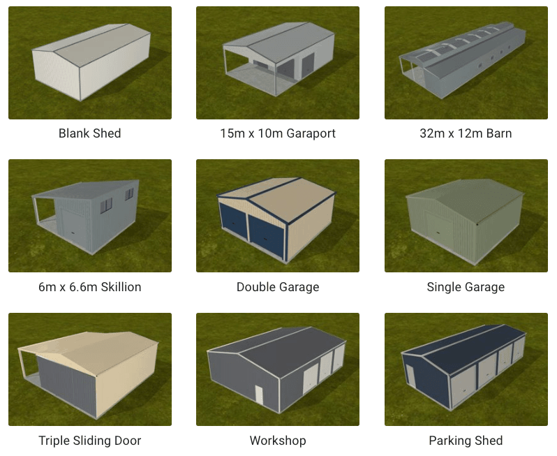 3D renderings of shed designs used with software