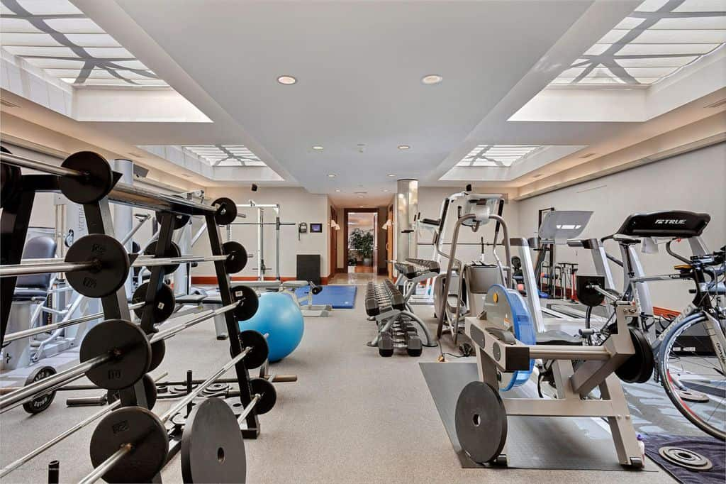 Fully equipped home gym with free weights, mats and cardio equipment