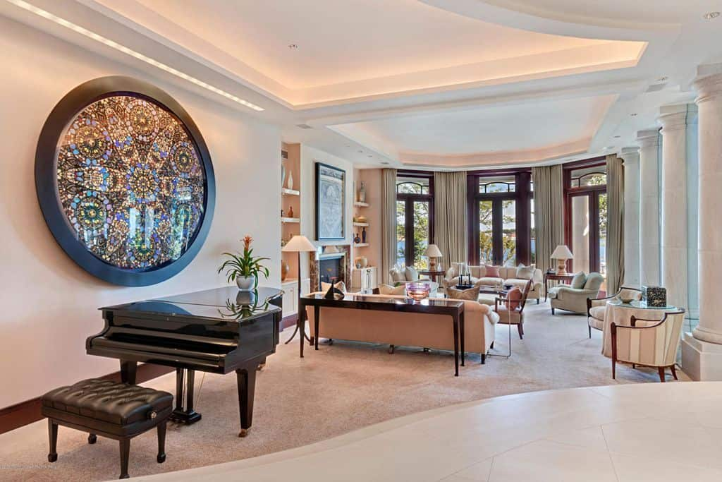Large formal living room with grand piano