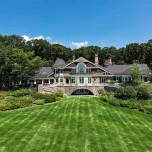 Backyard exterior view of New Jersey mega mansion