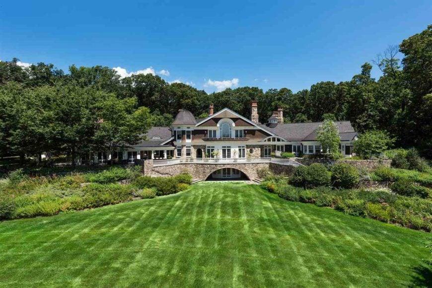 Backyard exterior view of New Jersey mega mansion