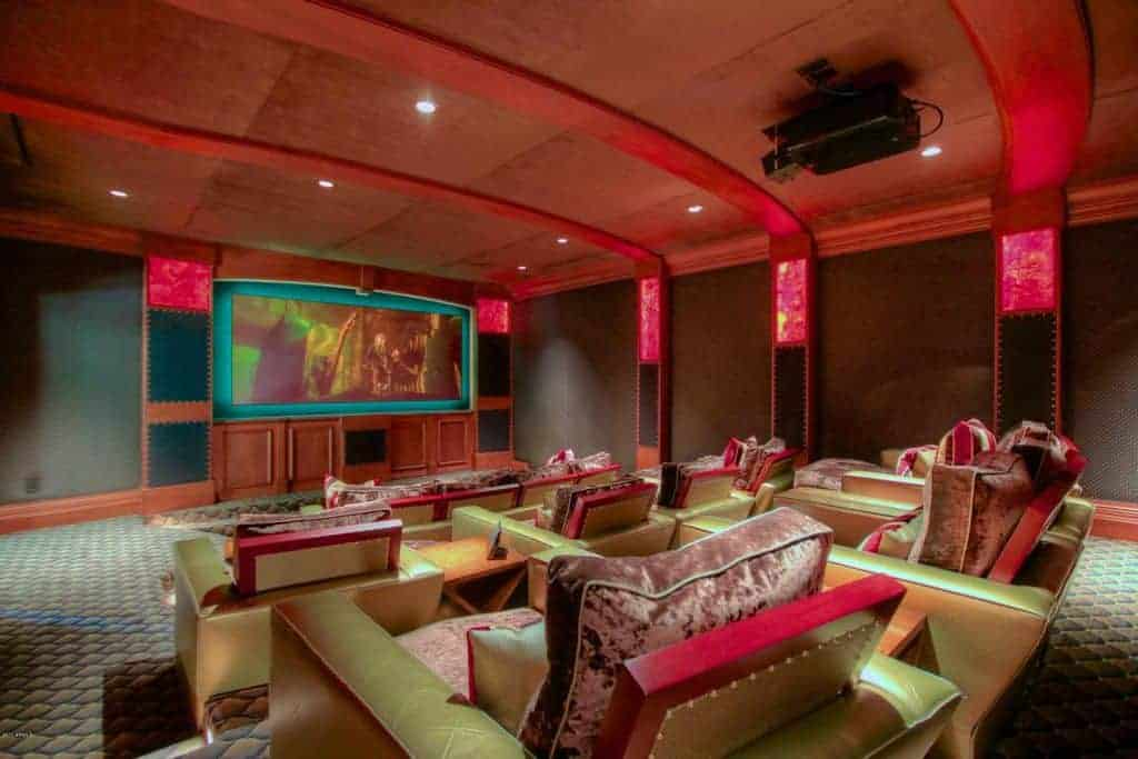 Fabulous and colorful home theater.