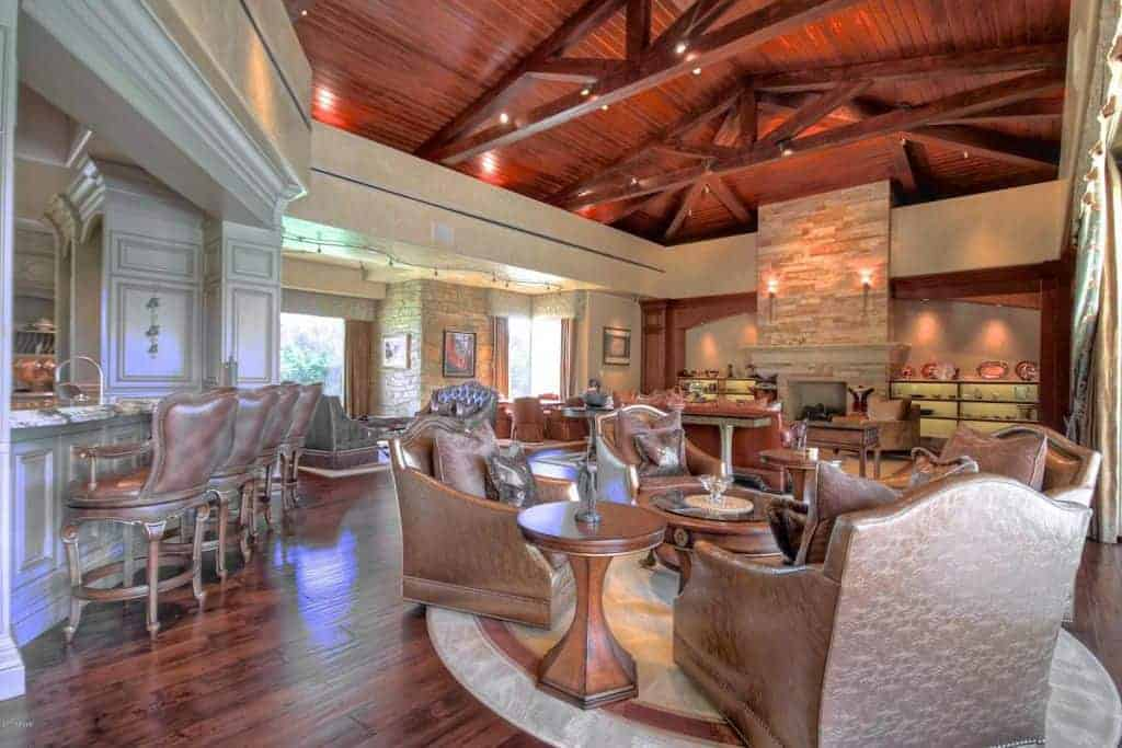 Great room with bar and family room lounge area.