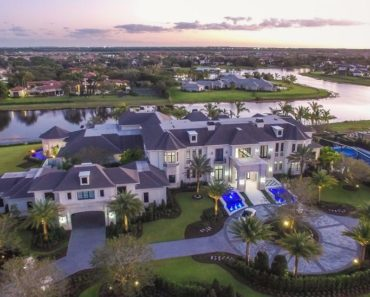 Aerial view of Florida mega mansion