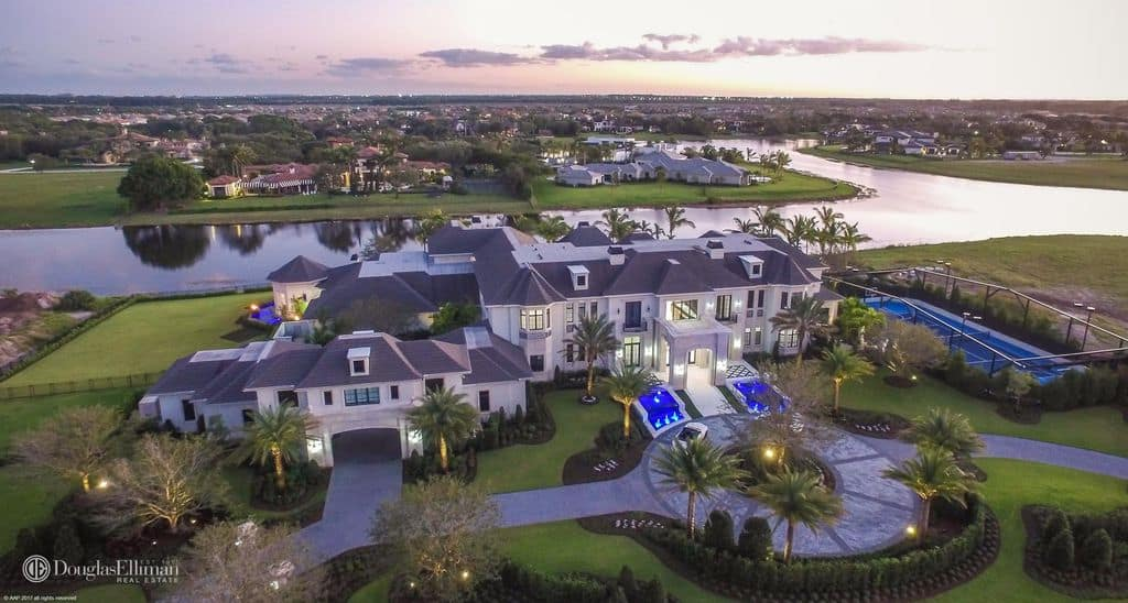 Aerial view of Florida mega mansion