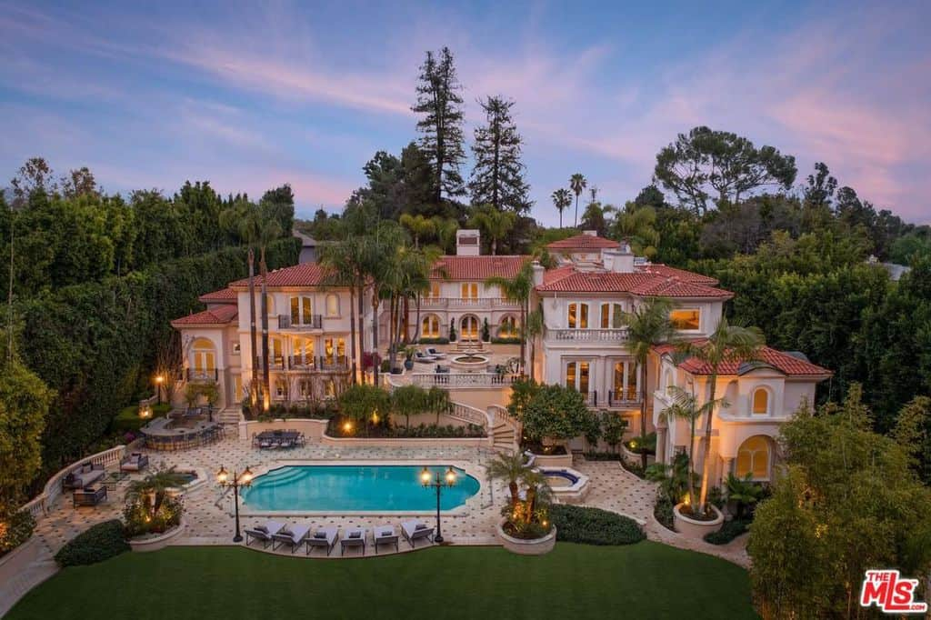 Aerial view of mega mansion (36,000) in Bel Air, California