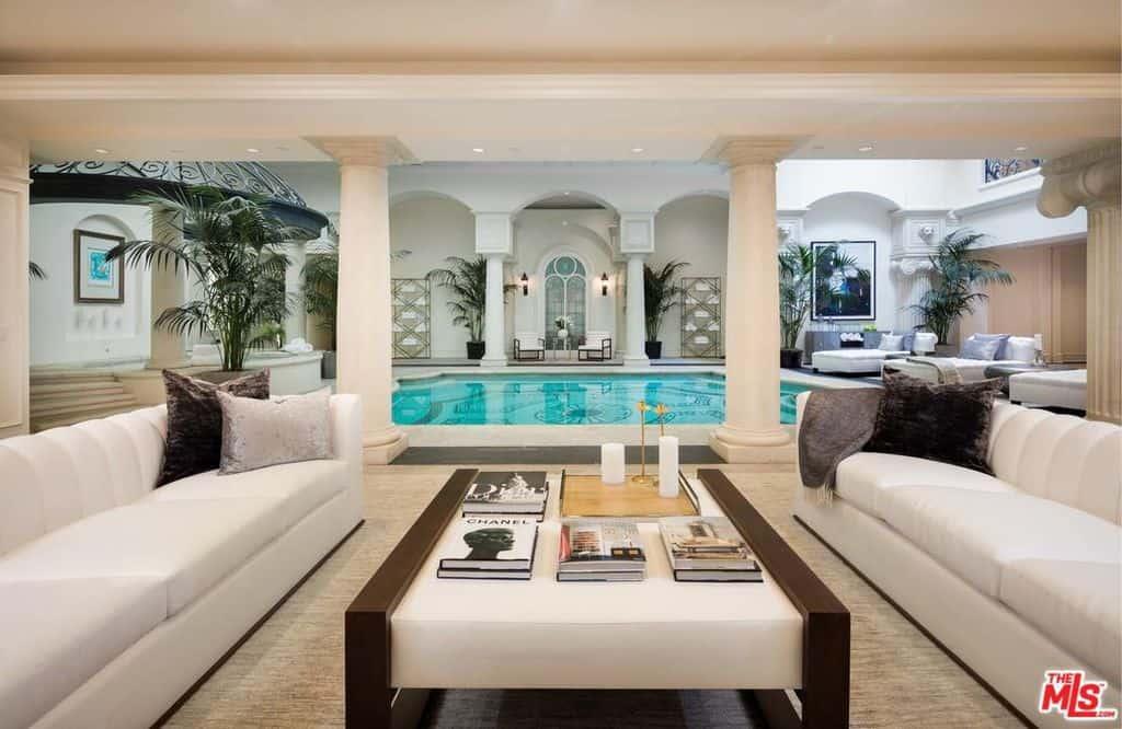 Incredible indoor swimming pool lounge area
