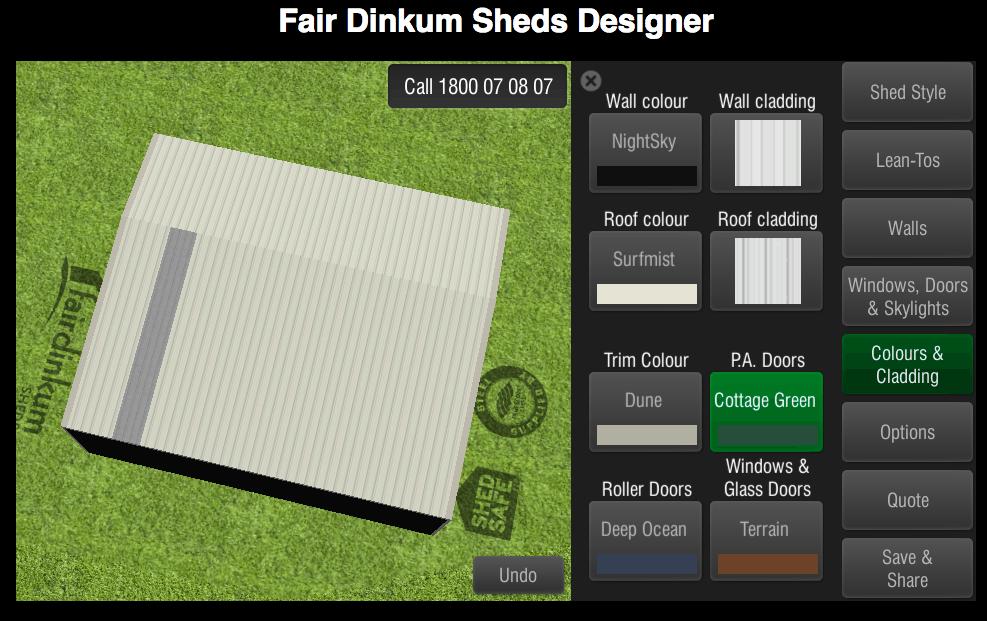 Fair Dinkum Sheds Designer Colours & Cladding