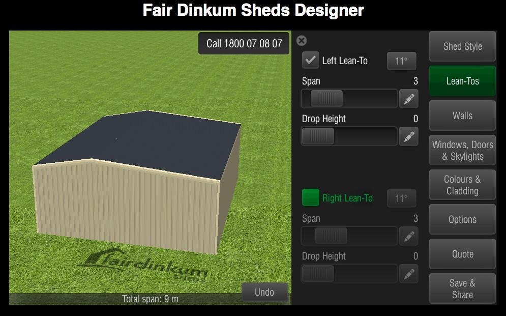 Fair Dinkum Sheds Designer Lean-Tos